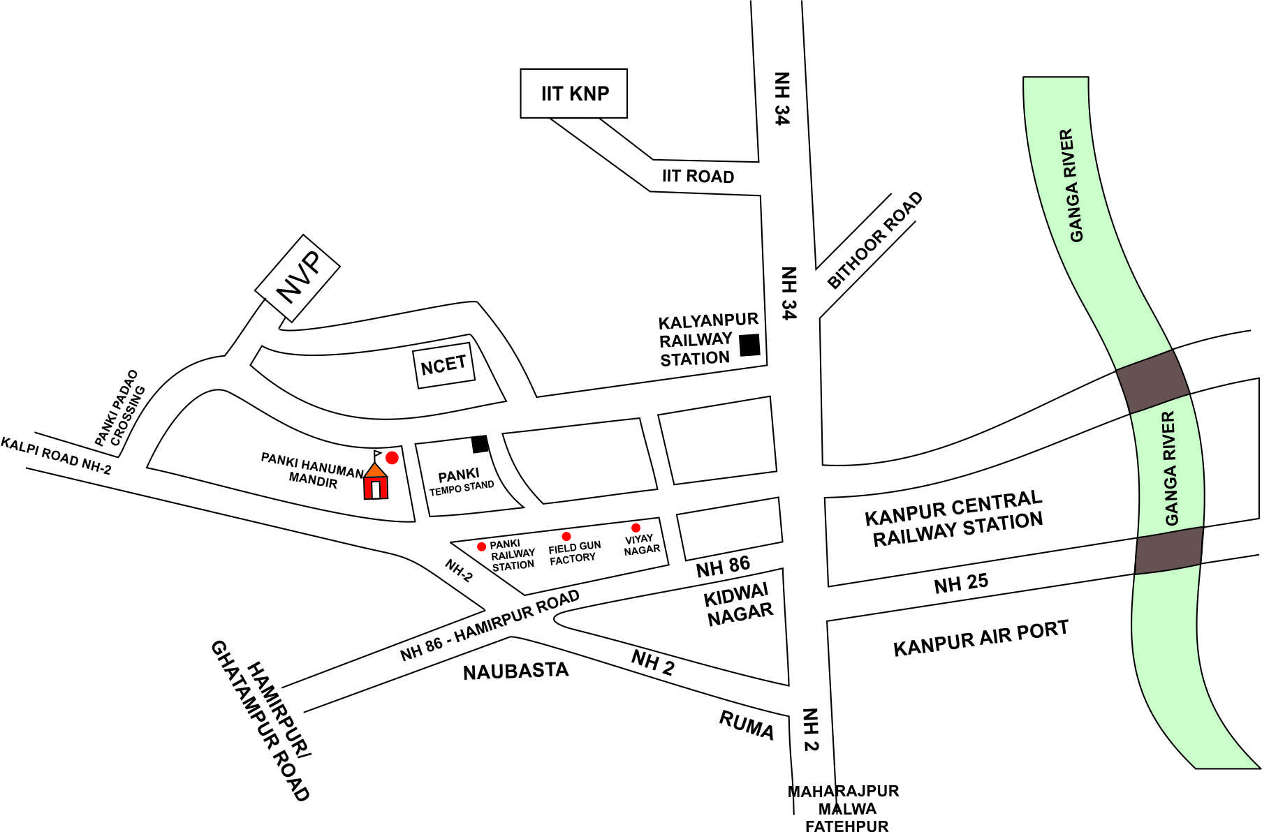 Road Map to Naraina Group of Institutions Kanpur
